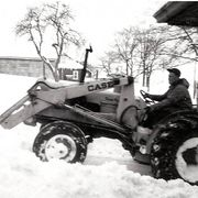 Bruce Tinney plowing our driveway late 1960s