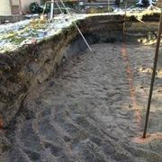 Excavation with filter sand base